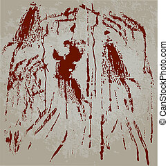 Blood spots on dirty wall. Vector illustration