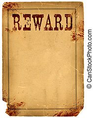 Blood Stained Reward Poster 1800s Wild West - Bloody stained...