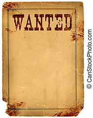 Blood Stained Wanted Poster 1800s Wild West - Bloody stained...