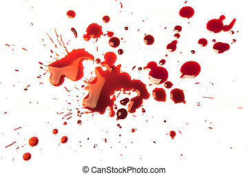 Blood stains - Splattered blood stains on a white background