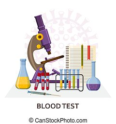 Blood test Covid-19. PCR testing. Virology research concept...