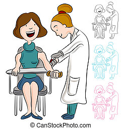 Blood Test Woman - An image of a woman taking a blood test.