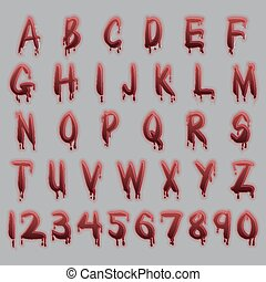 Blood text - blood red alphabet letters isolated for ease of...