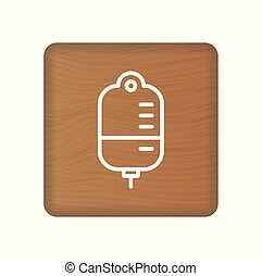Blood Transfusion Bag Icon. Linear Style Sign For Mobile Concept And Web Design. Medicine Blood Bag Simple Line Vector Icon. Blood Donation Symbol, Logo Illustration On Wooden Blocks Isolated On A White Background. Vector Illustration.