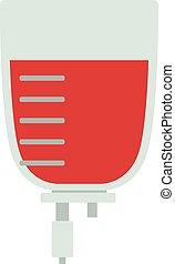 Blood transfusion flat illustration. Logotype blood...