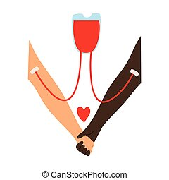 Blood transfusion from the donors hand to the recipient s hand with a red heart sign. Vector illustration in flat cartoon style.