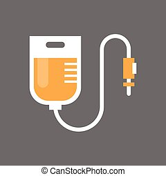 Blood Transfusion Icon Medical Donation Concept Flat Vector...