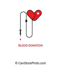 Blood transfusion icon, red heart dropper, donation of...