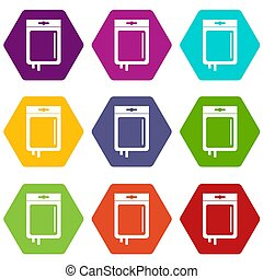 Blood transfusion icon set color hexahedron - Blood...