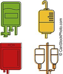 Blood transfusion icon set, color outline style
