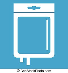 Blood transfusion icon white isolated on blue background...