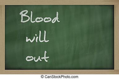 """"""" Blood will out """" written on a blackboard"""