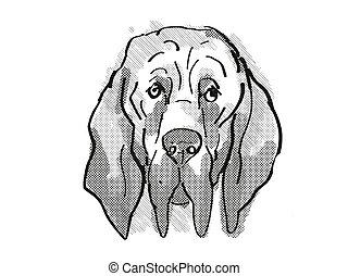 Bloodhound Dog Breed Cartoon Retro Drawing - Retro cartoon ...