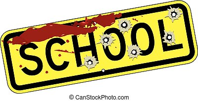 School road sign with traces of bullets and blood. Vector illustration.