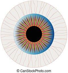 Bloodshot Eye - A multicoloured eye isolated over a white...