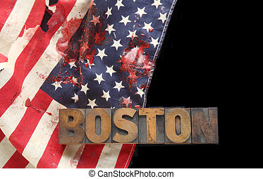 bloodstains on USA flag with Boston