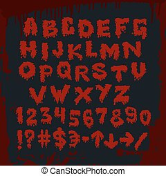 Bloody alphabet and other signs. Vector art.