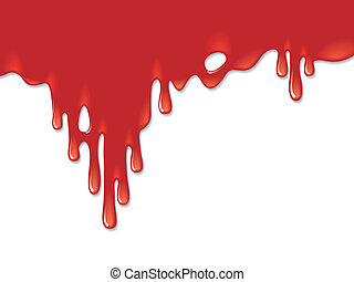 Red blood on a white background