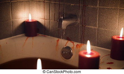 Bloody bathtub by candlelight - Close Up