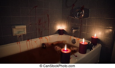 Bloody bathtub with body parts and rat by candlelight - wide...