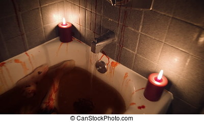 Bloody bathtub with body parts by candlelight - Quick Zoom...