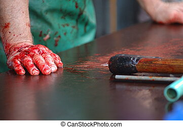 Bloody break - Bloody slaughter hands waiting for customers