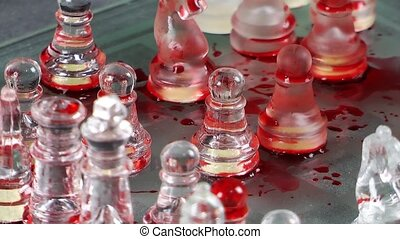 Bloody Chess Game Made by Glass