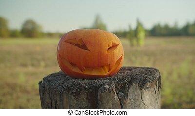 Bloody chopping axe smashing halloween pumpkin - Bloody ...