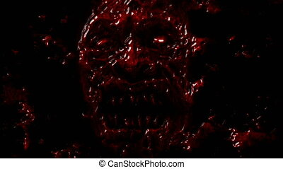 Bloody demon face screams from dark. Animation in genre of...