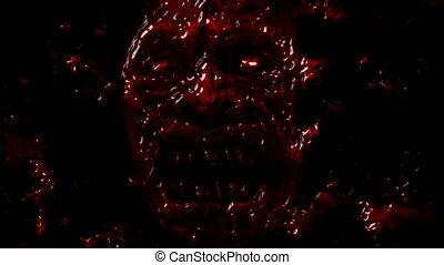Bloody demon face screams from dark.