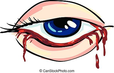Bloody eye of a woman Vector illustration