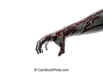 Bloody hand isolated on white background with clipping path