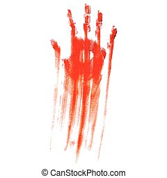Bloody hand print - Red bloody hand print on a white...