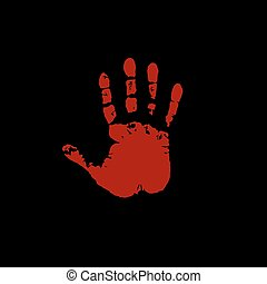 Bloody hand print isolated on black background. Vector illustration, icon, clip art.