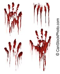 Bloody hand print on white background