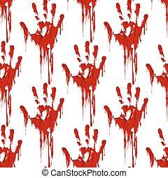Bloody hand print seamless pattern