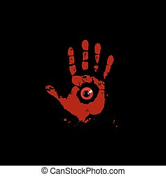Bloody hand print with red monster eye inside isolated on black background. Vector illustration, icon, clip art.