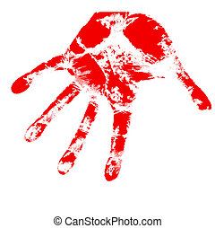 bloody hand prints, on a white background, vector.