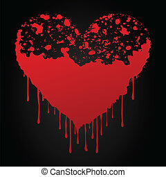Bloody red heart on a black background. A vector illustration