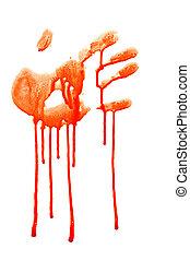 handprint - bloody human handprint isolated on white