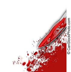 Bottom right corner illustration of a murder scene with a bright red bloody knife and blood splatter against a white background. Concept for violence and crime.