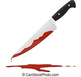 Kitchen knife with blood stain vector illustration isolated on white