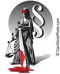 Bloody Lady Justice - Blind Lady Justice holding scale and...