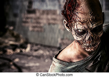bloody look - Horrible scary zombie man on the ruins of an...