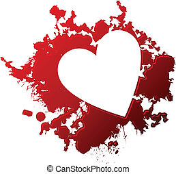 Stylized heart reversed out of a blood spill