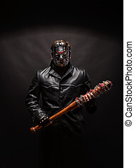 Bloody maniac in mask and black leather coat - Bloody maniac...