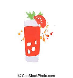 Bloody Mary cocktail colorful hand drawn watercolor vector...