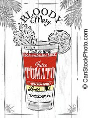 Bloody mary cocktail in vintage style stylized painted on wooden boards