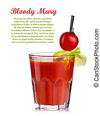 Bloody mary cocktail isolated on white background. Top garnished.