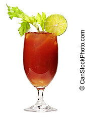 Bloody mary drink - Bloody mary in glass isolated on white...